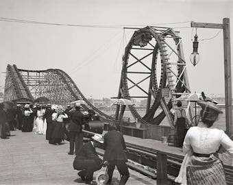 Atlantic City Rollercoaster, 1901. Vintage Photo Reproduction Poster Print. Black & White Photograph. Summer, Boardwalk, Vacation, 1900s.