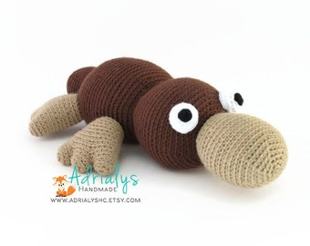 Crochet Platypus- Crochet Animals, Stuffed Platypus, Australian Animals, Handmade Platypus, Crochet Toy- Made to Order