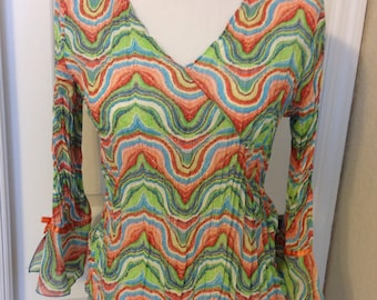 Shades of Green, Orange, and Turquoise Sheer Hippie Psychedelic Blouse Womens Size 8-10 Previously Thirty Dollars ON SALE
