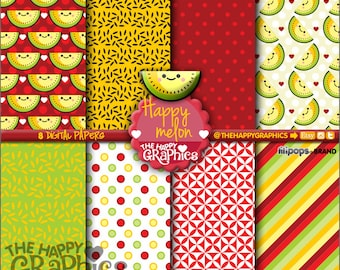 Fruit Digital Paper, 80%OFF, COMMERCIAL USE, Printable Paper, Digital Paper Pack, Melon Digital Paper, Cute Background, Fruit