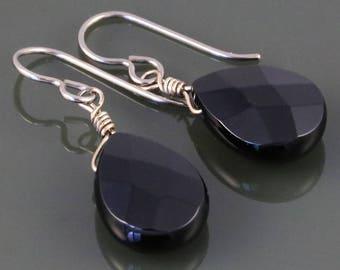 Black Onyx Earrings. Titanium Ear Wires. Genuine Gemstone. Hypoallergenic. s17e005
