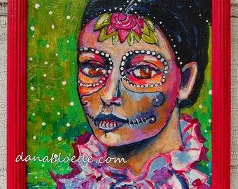 Dia de los Muertos 8 x 10 peinture originale avec cadre magenta shabby