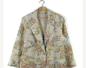 ON SALE Vintage Floral  Printed Slouchy Blazer Jacket from 1980's