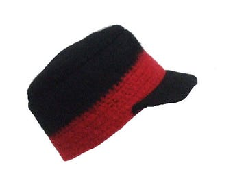 Felted Black Cap with Red Band