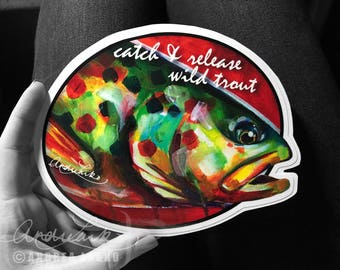 Catch and Release Wild Trout Laminated Oval 3M Vinyl Decal