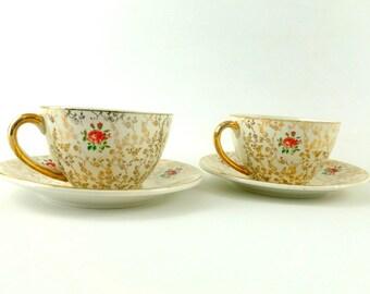 French Vintage Ceramic Tea cups and Saucers / Vintage Sarreguemines Tea cups