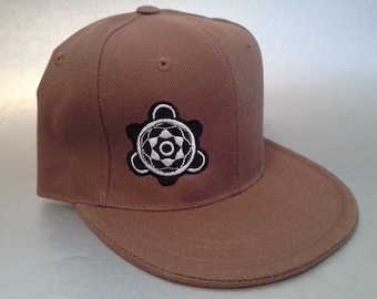 Crop Turtle Fitted Hat made to order flat bill crop circle sacred geometry FREE SHIPPING