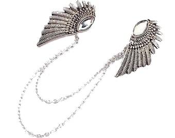 Retro Silver Bird Wing Collar Clip Casual Charm Collar Chain,Angel Wings collar pins Pendant,Unique Gift