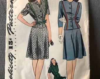 Vintage 40s Simplicity 4792 Suit Pattern-Size 16 (34-28-37)