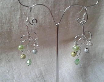 beads and silver leaf earrings