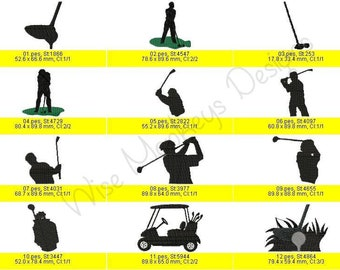 Golf Silhouette machine embroidery designs set of 10