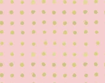 "Metallic Monaluna Organic Cotton Fabric ""Spots Poplin"" Haiku 2 - Gold,Pink,Metalic,Polka Dots- Girl,Bedding,Nursery"