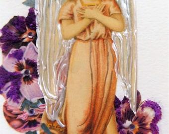 Fine Art Greeting Card: OOAK Angel Montage 'Panseys'