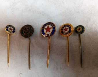 Lot of 5 Vintage Pins F.C. Hajduk Split 1911 -N.K Hajduk-Croatia/ Football pin-Soccer pins-Torcida- 70's