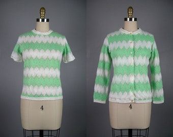 Vintage 1960s Zig Zag Knit Sweater Set 60s Green and White Acrylic Knit Set Size M