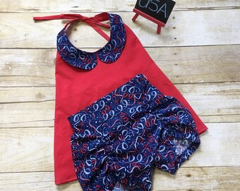 Girls 4th of July Outfit - Red White and Blue Outfit - Girls July 4th Outfit - 4th of July Girls Shorts Set - Girls Summer Outfit