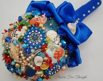 Beach Wedding Bouquet, Seashell Nautical Bridal Posy with Freshwater Pearls