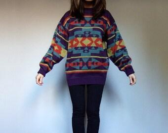 Vintage Oversized Sweater Tribal Print Sweater Southwestern Sweater Boho Top Aztec Sweater Oversized Top Winter Jumper - Medium to Large M L