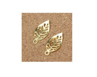SET of 10 golden leaf charms nature tree (S35)
