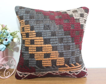 embroidered kilim pillow cover wool pillow throw kilim pillow bed pillow aztec kilim pillow cover couch pillow cover 16x16 pillow MD 564