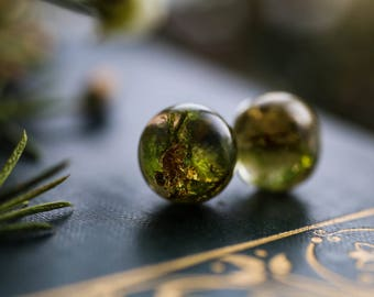 Forest moss and gold leaf earrings, real plant jewellery, green moss, gift for her, sterling silver stud earrings, resin posts, Irish craft