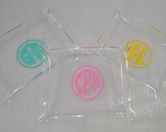 Monogrammed Elegant Acrylic Tray with Pinched Corners / Personalized Acrylic Tray / Pinched Corner Tray / Jewelry / Perfume Tray / Ring Tray