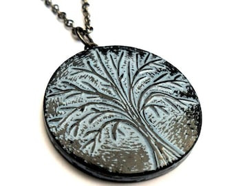 Rustic Blue Tree Necklace, Winter Tree Pendant, Tree of Life Necklace