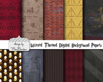 Harry Potter Themed Digital Scrapbooking Background Papers - 8.5x11 300 ppi - DiY - INSTANT DOWNLOAD