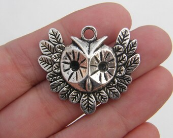 2 Owl pendants antique silver tone B309