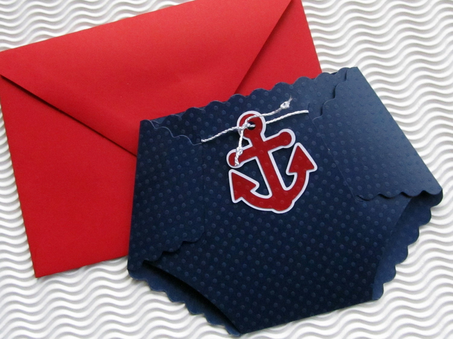 Nautical themed diaper shaped baby shower Invitation