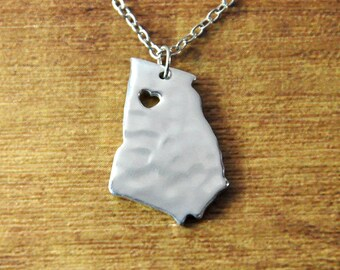 Personalized Georgia necklace, hammered state necklace,Custom map necklace, sterling silver state charm, map jewelry,Texas,Tennessee,Florida