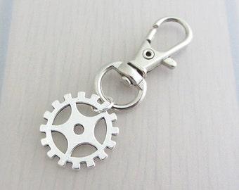 Gear Bag Charm, Cog Purse Clip, Silver Gear Handbag Charm, Steampunk Charm Zipper Pull, Steam Punk Gift