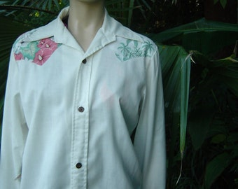 Vintage 80s Ocean Pacific Hawaiian Print WhiteTropical Print Shirt Size m by Jeansvintagecloset