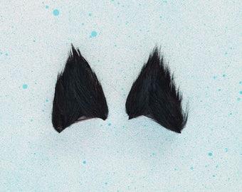 Black Cat Ears : Handmade Black Kitten Ears / Black Cat Ears/ Black Ears/ Clip On Ears/ Black Wolf/ Black Werewolf Ears