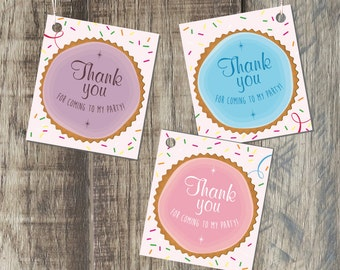 Thank You Tags For Kids Birthday Party, Sprinkles Party Favor Tag, Printable PDF