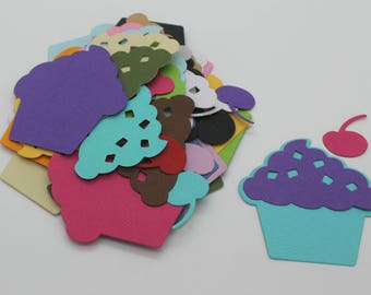 CAKE and icing, cut paper, set of 20 die cut cardstock, embellishment, supply, scrapbooking, birthday cup cake, party, diy invitation