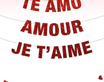 Te Amo Banner, Amour Banner, Je T'aime Banner, Love Banner, Valentines Day Decor, Valentine's Day, Love is Love, Be My Valentine