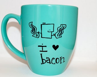 Hand Drawn I Love Bacon Mug (Customizable)