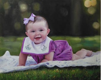 Custom portrait-custom oil painting-oil painting-custom child portrait-custom painting from photo-personalized portrait- oil portrait-ETSY