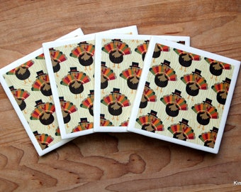 Thanksgiving Coasters - Coasters - Drink Coasters - Tile Coasters - Ceramic Coasters - Coaster Set - Housewarming Gift - Table Coasters