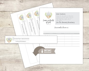 Instant-Download - 2018 LDS Primary Theme Sharing Time Assignment Wristbands and Folder Insert  - Modern Black & White Stripe Design