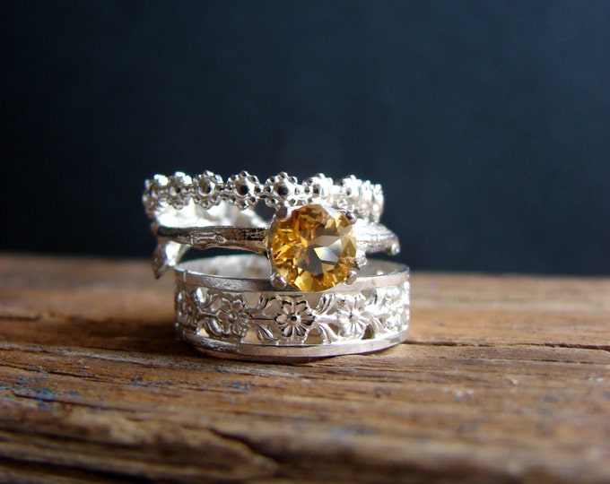 Citrine Ring Twig Birthstone Silver Ring Set November Birthstone Gifts for Her Luxury Gifts Fine Jewelry