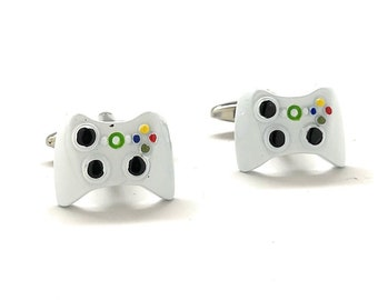 Cufflinks Video Game Controller White Edition Video Gamer Cuff Links Fun Nerdy Custom Cufflinks Cool Unique Comes with Gift Box