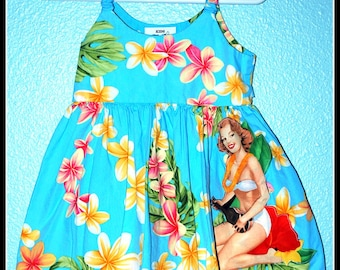 Girls Rockabilly Blue Tiki Dress with Pinup Girl........Size 12 months