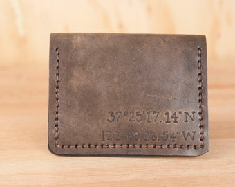 Custom Leather Front Pocket Wallet - Coordinates in the Find Me Here Pattern - Mens or Womens Wallet