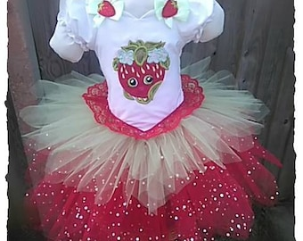 shopkins inspired strawberry kiss tutu dress. age 3 . embroidered/appliqued, 3 layer full skirt with sparkle top layer .