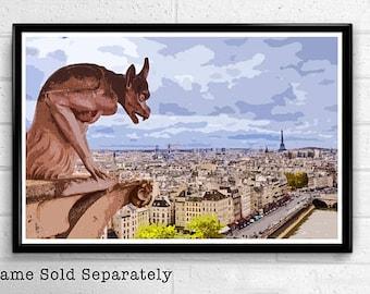 Gargoyle or Cathedral Notre Dame Digital Download Movie Print