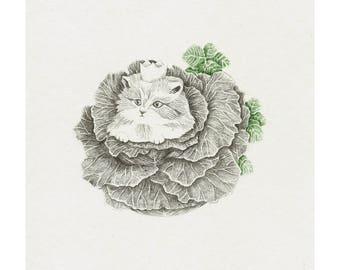 King cat, giclee print, fine art