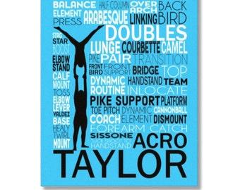Acro Doubles Art, Acro Duo Gymnastics Typography Poster, Acrobat Art, Acrobat Gift, Acro Doubles Canvas, Gift for Tumbler, Acro Team Gift