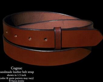 Cognac Brown Handmade Genuine Leather Belt Strap